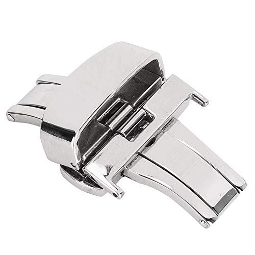 Cierre de correa de reloj de acero inoxidable, cierre de correa de reloj Cierre de correa de reloj de acero inoxidable, hebilla para reloj de repuesto para mujer y hombre (plateado 22 mm)