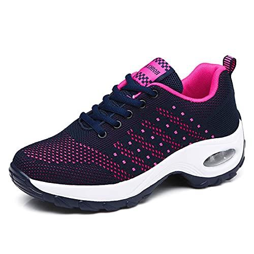 GAXmi Zapatillas Deportivas Mujer Respirable Zapatos Gimnasia Running Antideslizantes Casual Azul 40EU