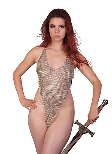 Arsimus Handcrated Chainmail V Shape Long Top Metallic