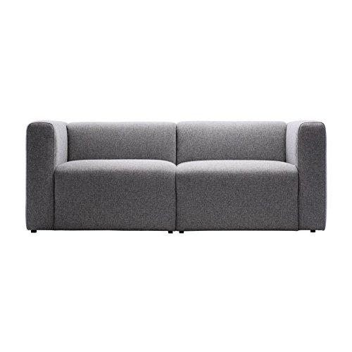 HAY Mags 2-Sitzer Sofa 194x95,5x67cm, hellgrau Stoff Hallingdal 130 BxHxT 194x67x95,5cm Füße Kiefernholz schwarz gebeizt