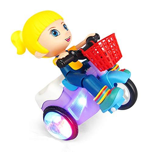 Shhjjyp Elektrische Spielzeugautos Für Kinder Elektrisches Dreirad Stunt Spielzeug, 360 Grad Rotierendes Stunt Fahrrad Musik Licht Kinderspielzeug, Dynamische Musik, Bunte Lichter, 360-Grad-Drehung,A