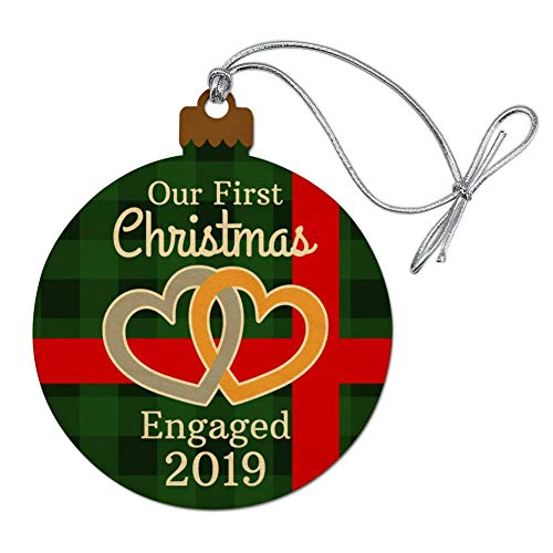 Our First Christmas Engaged 2017 Hearts Green Plaid Wood Christmas Tree Holiday Ornament