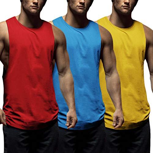 COOFANDY Juego de 3 camisetas de tirantes para hombre, para fitness, deporte, sin mangas, para entrenamiento, gimnasio, culturismo, sin mangas rojo, azul y amarillo. L