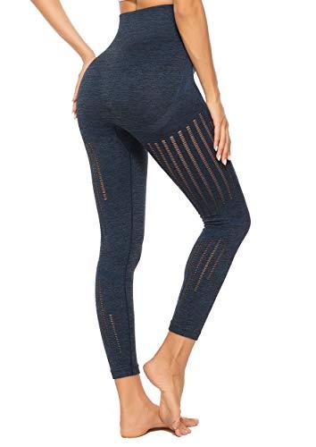 INSTINNCT Leggins Sportivi da Donna Vita Alta Pantaloni Elastici di Fitness per Allenamento Yoga Collant di Base Dimagrante Blu S