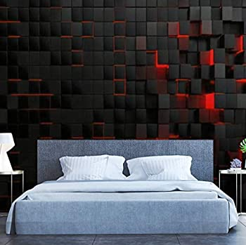 FEWEGRWEFW Modern 3D Design Removable Wallpaper for Bedroom Living Room Abstract Futuristic Cubes Shape Background 3D Render Illustration Wallpaper Stick and Peel Wall Stickers Home Decor