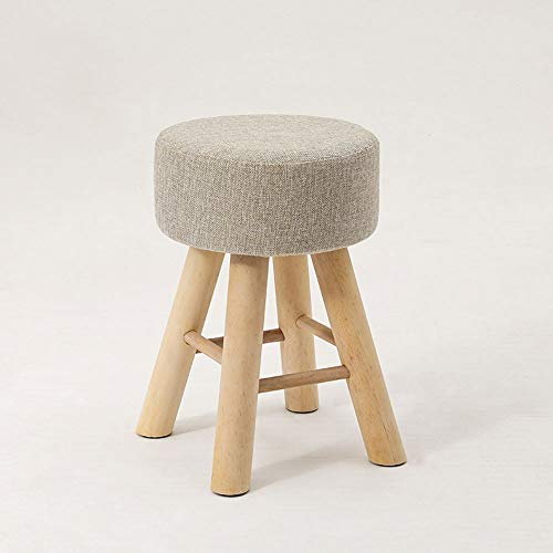 Removable and Washable Solid Wood Stools, Modern Minimalist Dressing Table Stools, Fabric Stools, Shoe-changing Stools, Living Room and Bedroom Stools (Color : Gray)