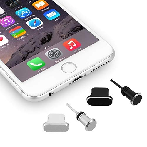 OOTSR Anti-dust Plugs Caps Compatible for iPhone Smart-Phones, Anti-Dust Pluggy Charging Port Cover for iPhone X/XS/XS MAX/8/8 Plus/7/7 Plus/6/6S/6 Plus.etc (2-Set, Black +Silver)