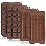 FineGood 4 Pcs Silicone Chocolate Molds, Non-Stick Break-Apart Protein and Energy Bar, Ice Cube Tray Candy Mold Kitchen Baking Mould