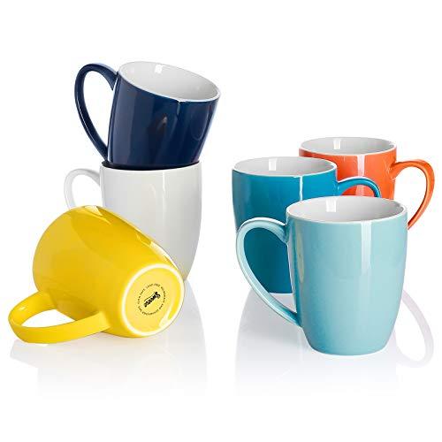 Sweese 611.002 Kaffeebecher Kaffeetassen 6er Set aus Porzellan, 350 ml Becher mit henkel für Heißgetränke, Bunte Serie