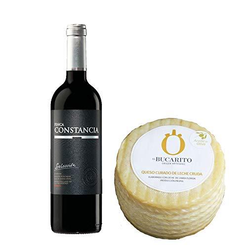 Pack de Vino tinto Finca Constancia Seleccion y Queso Curado en Aceite Oliva de Leche Cruda - Vino de 75 cl y Queso de 900 g aprox - Mezclanza
