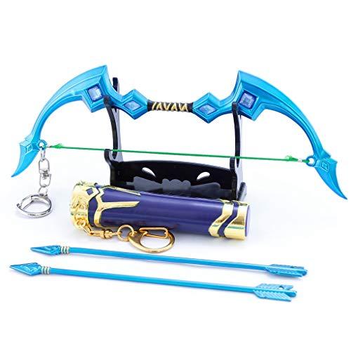LINLUO 1/6 Ai Xi Arco y Flecha Conjunto de Aleación Modelo de Arma Llavero de Juguete Arco y Flecha para Niños Modelo de Acción Figura de Arte Juguetes