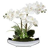 38,1 cm artificiale Phalaenopsis fiori arrangiamento orchidea artificiale bonsai in vaso d'argento fiori finti orchidea fiore per centrotavola soggiorno decorazione casa