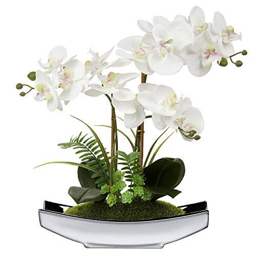 38 cm Artificial Phalaenopsis Flores Arreglo Artificial Orquídea Bonsai en maceta de...