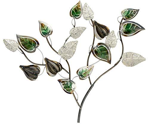 dekojohnson extravagante Wanddeko Baum-Zweig mit Blätter Wandbild Metall Wandobjekt Wandbehang Moderne Wanddekoration Silber grün lackiert 58cm