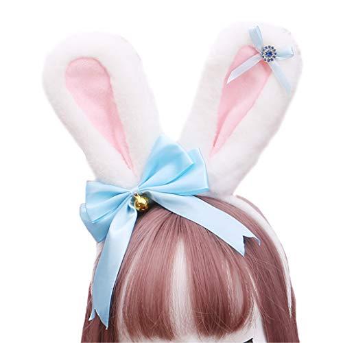 Qiman Diadema de pelo sintético con orejas de conejo, diadema con brillantes, lazo, conejo, Halloween, cosplay, fiesta, accesorio para el pelo