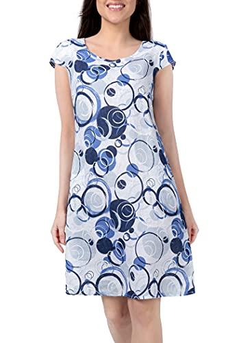 PEKIVESSA Leinenkleid Damen Sommer Knielang Muster Kurzarm Weiß 42 (Herstellergröße L)
