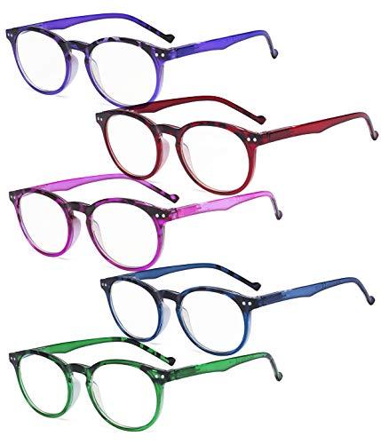 Eyekepper 5er Pack Runden Damen lesen Brille - Stilvoll Oval Damen Leser zum Frauen lesen
