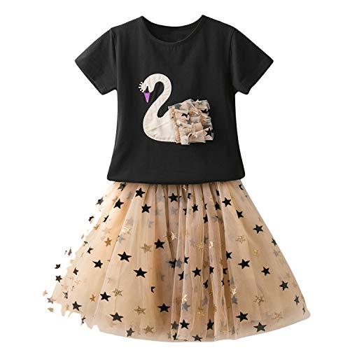 TTYAOVO Juego de Ropa de Princesa de Verano para Niñas Camiseta de Manga Corta de Dibujos Animados + Falda de Tutú de Tul 2 Piezas Trajes (3-4 Años, Negro)