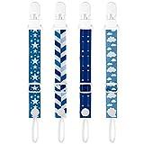 PREMYO 4 Piezas Cadena Chupete Bebé - Chupetero de Tela Niño con Clip - Ajustable Universal Durable Azul