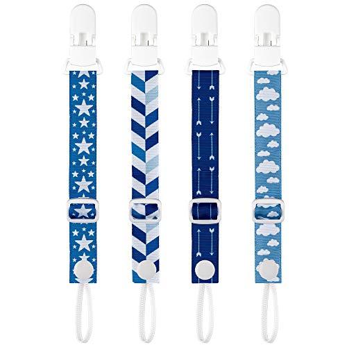 PREMYO 4 Pack Baby Schnullerkette Jungen - Schnullerband mit Clip Verstellbare Länge - Universal Ohne Namen Blau