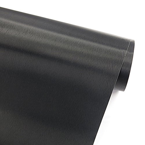 """GLOW4U Self Adhesive Black Brushed Metal Stainless Steel Vinyl Film Contact Paper for Refrigerators Dishwashers Stove Appliance Etc 24"""" x 78.6"""""""