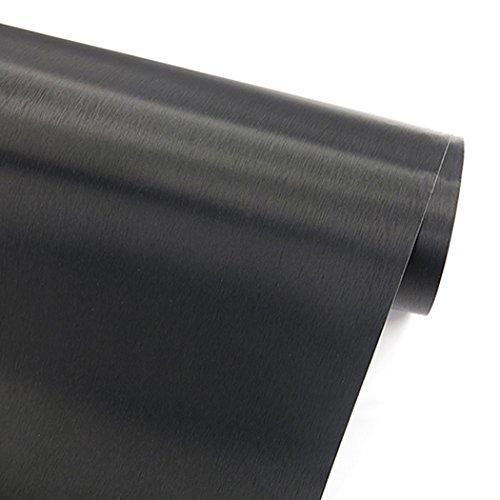 Glow4u Simili Noir Métal brossé en Acier Inoxydable Contact Papier Autocollant en Vinyle Étagère Doublure de tiroir pour Réfrigérateurs Lave-Vaisselle Appliance etc, Vinyle, Noir, 19.6