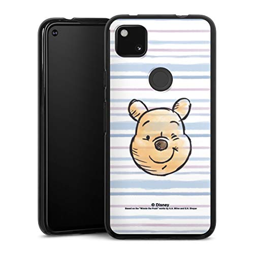 Silikon Hülle kompatibel mit Google Pixel 4a Case schwarz Handyhülle Bär Disney Winnie Puuh