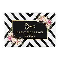 玄関マット パーソナライズされた金のヘアスタイリストのようこそドアのマットの乙女レクサーの敷物のカーペットマットのためのガーリーの花の美容髪のサロンのドアマット (Color : White, Size : 40cmx60cm)