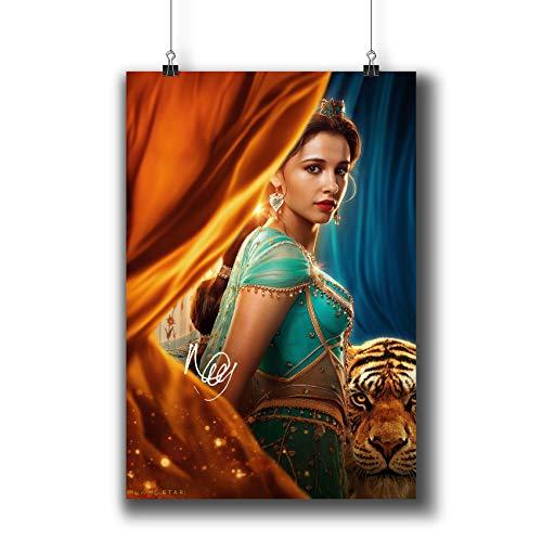 Pentagonwork Aladdin Disney Filmposter Casts, signierter Nachdruck, 11,7 x 16,5 cm, A3, textlose Drucke mit Aufkleber 2019 Film, Prinzessin Jasmine Naomi Scott Autographed, 1226-007