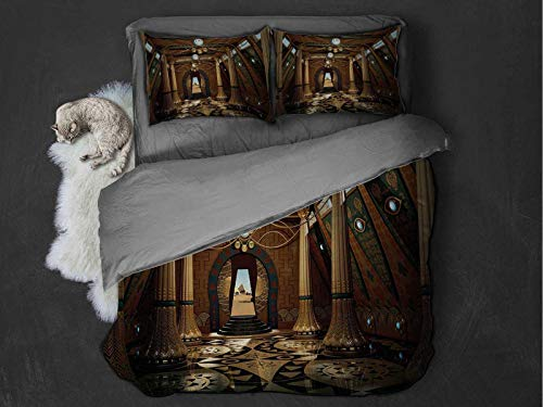 Pillar 100% washed microfiber bed set Graphics of a Temple Interior in the Fantasy Style with Pillars 3D Computer Graphics Super soft and breathable duvet cover (Full) Brown