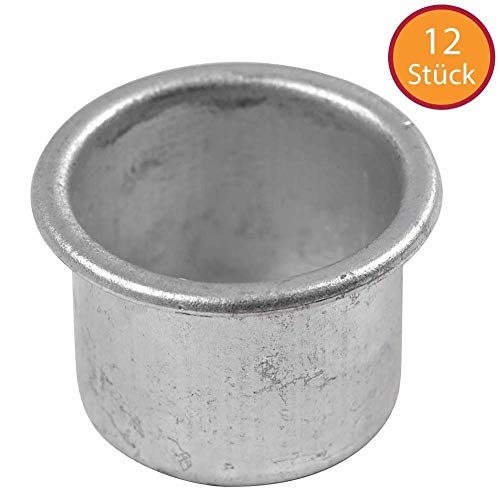YooKreativ Kerzenhalter, 12 Stück Kerzeneinsätze aus Metall für Stabkerzen und Tafelkerzen, D: 25 mm, H 18 mm, 12Stck, Lochgröße 22 mm