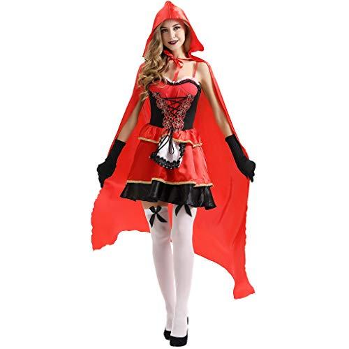 FRAUIT Cappuccetto Rosso Costume Adulto Vestito Donna Elegante Corto Sexy + Guanti + Mantello Medievale Ragazza con Cappuccio Halloween Costume Cosplay Donna Hot Vestiti Abito Abiti