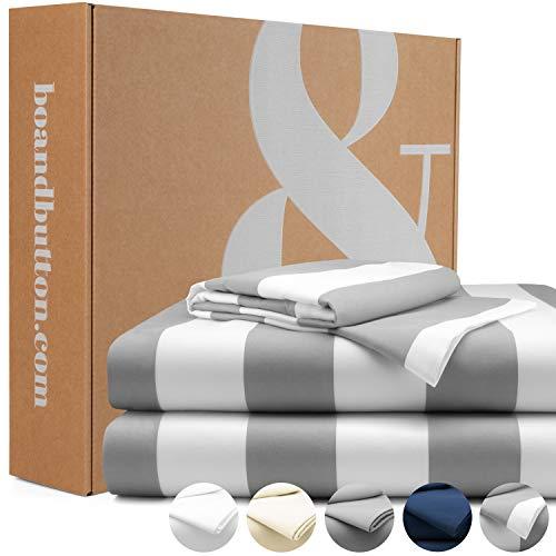 bo&button® Mako Satin Bettwäsche, echte Luxusqualität, Set 135x200 cm, 100% feinste GOTS Bio Baumwolle, Gestreift/Breite Streifen
