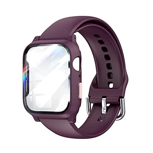 LϟK Compatible con Apple Watch Correa 44mm Series 6 5 4 SE con HD Estuche Protector - Correa Repuesto de Reloj Deportivo Deportiva Delgada De Silicona Suave Respirable Inteligente Pulseras - Ciruelo