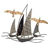 CAPRILO. Adorno Pared Decorativo de Metal Barcos con Gaviota. Cuadros y Apliques. Barcos. Muebles Auxiliares. Decoración Hogar. Regalos Originales. 48 x 3 x 48 cm.