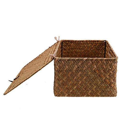 Wakauto - Caja de almacenamiento con tapa de tela para maquillaje, cubo para el hogar, baño, dormitorio, armario, zapatos, ropa, juguetes