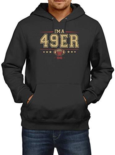 Shirt Happenz 49er American Football 1946 Any Given Sunday Forty-Niners San Francisco Hoodie Herren Kapuzenpullover, Größe:5XL, Farbe:Schwarz