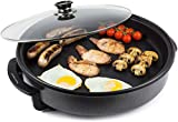 Andrew James 42cm Electric Multicooker with Adjustable Temperature Control   1500W   Non-Stick   Glass Lid   Easy Clean   Breakfast Dinner One Pot Cooking