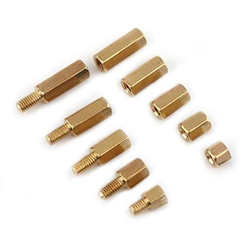 Separadores de latón Juego de separadores PCB Impermeable M3 Macho-Hembra y Hembra-Hembra Resistente al óxido para placa base