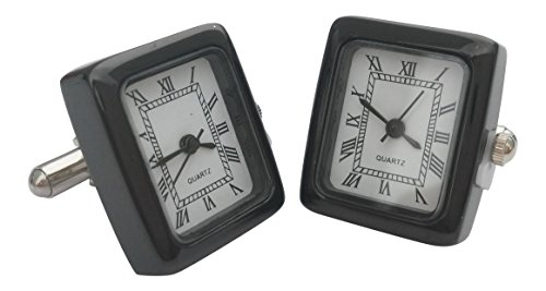 Onyx Art Herren-Manschettenknöpfe London rechteckig schwarz funktionierende Uhr