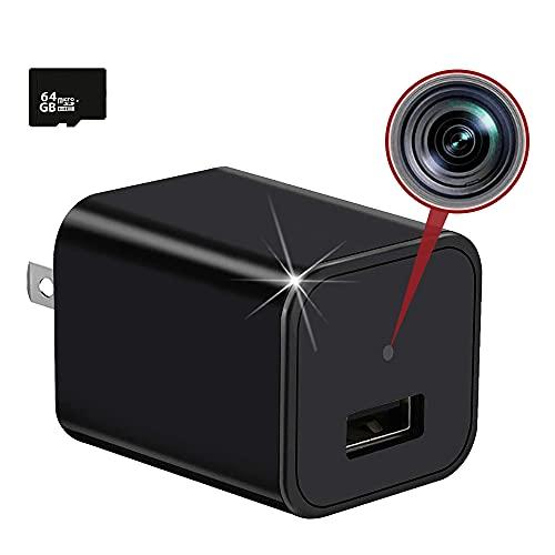 隠しカメラ ACアダプター型 超小型カメラ1080P 繰り返し録画 音声付き スパイカメラ 防犯監視 動体検知 64GBカード付き 長時間録画 日本語説明書