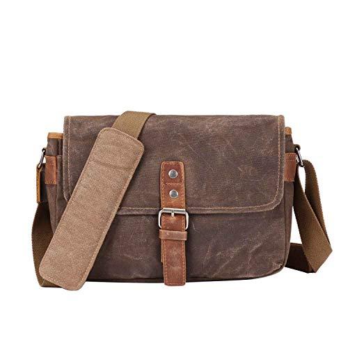 Neuleben Vintage Kameratasche Fototasche aus Wasserdicht Canvas Camera Bag Umhängetasche für SLR Systemkamera (Braun)