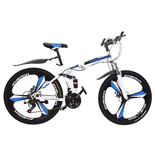 Kusou 26 inch Folding Mountain Bike Foldable Bikes 21 Speed Full Suspension MTB Road Bike Bicycle Double Disc Brake Shimanos High Carbon Steel Sports Wheels for Adults Teens Men Women