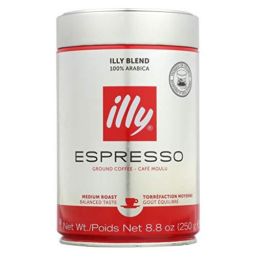 Illy Caffe Coffee Coffee - Espresso and Drip - Ground - Medium Roast - Decaf - 8.8 Oz - Case of 6