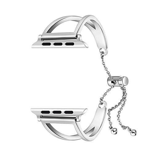 Aplicar a Apple Watch Band IWATCH 4 3 2 42mm / 38mm / 44mm / 40mm Correa Strap de Acero Inoxidable Correa de Manguito Cadena de diseño de Moda (Band Color : Silver, Band Width : 42mm or 44mm)