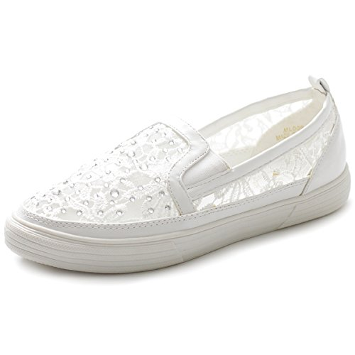 Ollio Women's Shoe Slip on Sneaker Lace Flat ML009(10 B(M) US, White)