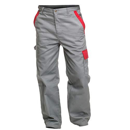 """'Charlie barato h13705/60-Pantalón de trabajo""""Sweat Life-Pantalón de peto para herramientas, Gris/Rojo, 60cm"""