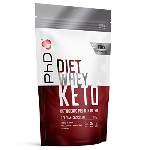 PhD Nutrition Diet Whey Keto, Ketogenic Protein Powder, Including Added Mct Powder, Belgian Chocolate, 600 g
