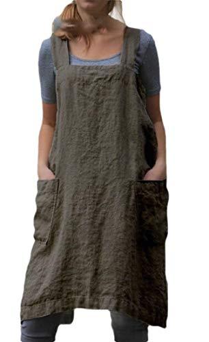 Smeiling - Delantal para mujer con espalda cruzada y sin mangas, estilo casual, 2, L