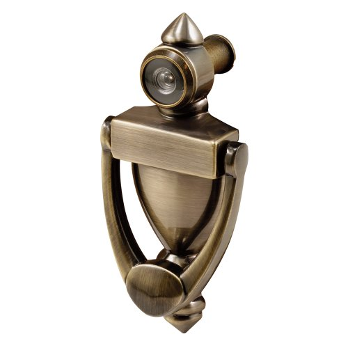 Defender Security S 4235 Door Knocker & Viewer, Diecast Construction, Antique Brass Finish, 160 Degree View